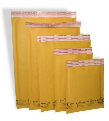 Ecolite #0 #00 #000 #1 #2 #3 #4 #5 #6 #7 Kraft Bubble Mailers Envelopes Bags