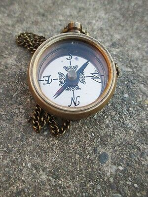 Brass Direction Compass LOCKET COMPASS WITH LONG CHAIN. NAUTICAL GIFTS