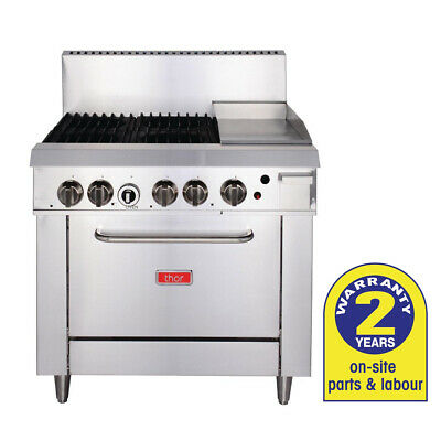 Gas Oven with 305mm Griddle & 4 Burners LPG Grill BBQ Hotplate Thor Commercial