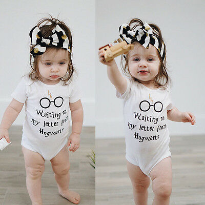Cotton Baby Boy Girl Clothes Summer Harry Potter Romper Jumpsuit Outfit UK