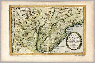 Paraguay-Südamerika-Amerika-South America Karte-Map Bellin 1750