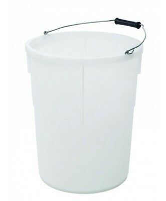 25L Litre 5 Gallon Plasterers Bucket / White / Plastic / Heavy Duty / Made In Uk