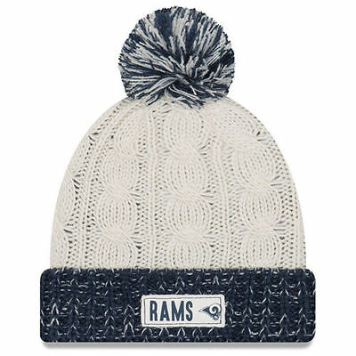 official photos 9155d 8c3d2 Los Angeles Rams New Era Women s Rugged Tag Cuffed Knit Hat with Pom - Cream
