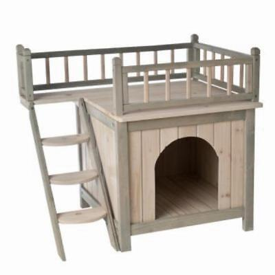 Cat Kennel Shelter House Wooden Cabin 2 Tier Small Dog Bed Outdoor Indoor
