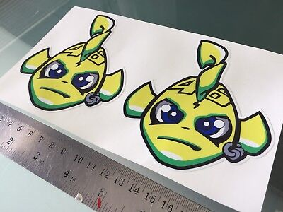 Rossi Misano Fish DECALS STICKERS (100mm x 110mm) X2