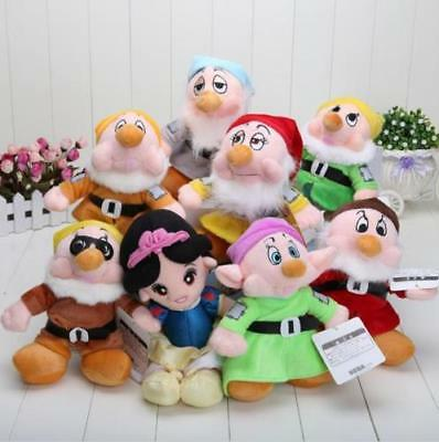 "The Snow White Princess and 8"" Seven Dwarfs Soft plush Doll Toys set 8 gift"