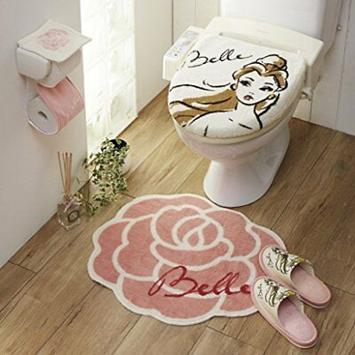 Disney Beauty and the Beast toilet lid cover mat slipper paper holder #R3459 F/S