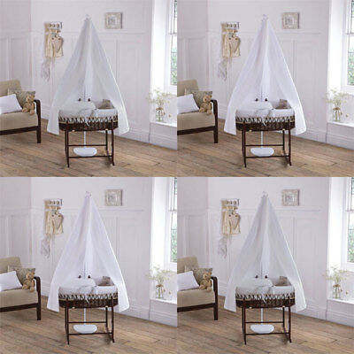 Clair de Lune Soft Waffle 6 Piece Dark Wicker Moses Basket & Drape Starter Set