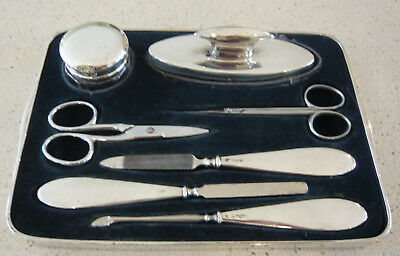 5 Part Solid Silver Manicure Set in Solid  Silver Tray by Horton & Allday 1922