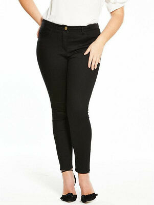 Womens Skinny Jeans Black Supersoft V By Very Curve Stretchy 12 14 16 18 20 22
