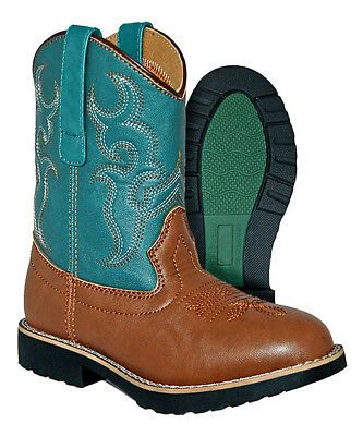 Itasca DEPUTY Kids Youth Teal Brown Cowboy Cowgirl Western Boots