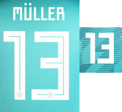 Muller 13 - 2018 World Cup Name Block For Germany Away = Adult Size