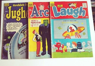 3 Archie comic lot UFOs and Monsters Laugh 128 Jughead 86 and Archie 125