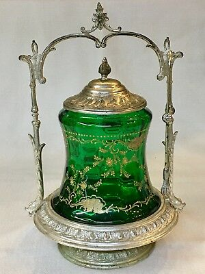 Silver Plate Ornate Pickle Castor ~ Hand Blown Green Bell Shaped Gold Encrusted