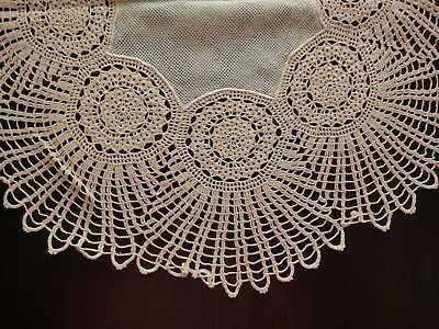 Lovely Vintage Handmade Ecru Cotton Crochet Ivory Tulle Round Tablecloth