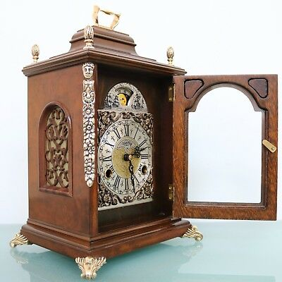 WARMINK Mantel Clock SQUARE Dutch Moonphase HIGH GLOSS DOUBLE Bell CHIME Vintage