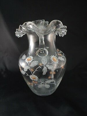 Vintage Hand Blown Enamel Painted Clear Glass Floral Pitcher Ruffled Rim Reeded