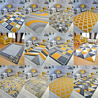 Ochre Mustard Gold Small Extra Large Big Grey Size Floor Carpets Rugs Mats Cheap