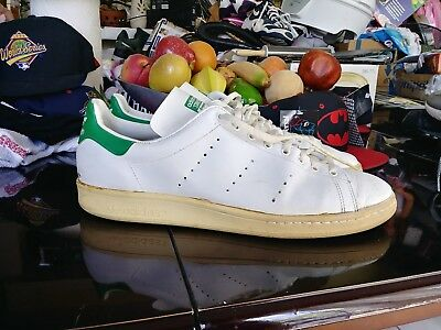 45bd4da3acad adidas stan smith 80s size 12 vintage trefoil made in france white green