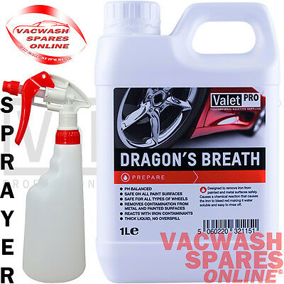 Valetpro Dragons Breath Wheel Cleaner 1Litre Iron X Contaminant Fallout Remover