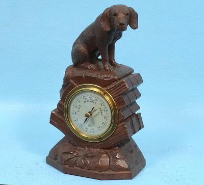 Antique Swiss Black Forest Wood Carving BAROMETER Hunt Dog Barigo Brienz c1900s