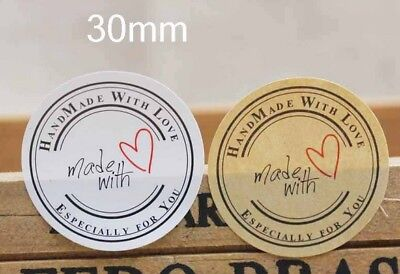 Round Paper Labels HAND MADE WITH LOVE Gift Food Craft Stickers Wedding B&W2