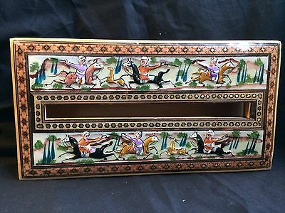 Persian Handcrafted Wooden Inlaid Khatam Marquetry Napkin  - tissue Box