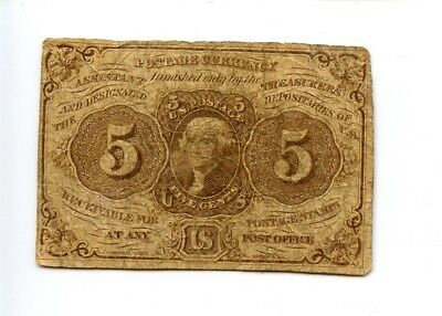 First 1st Issue 5C 5 Cent Fractional Currency Note 1863 AA0961
