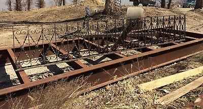 Architectural Salvage Wrought Iron Fence, RARE 507 ft large lot, good condition