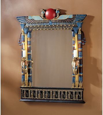 """24.5"""" Ancient Egyptian Revival Decorative Wadjet Mirror Two Cobra Candle Holders"""
