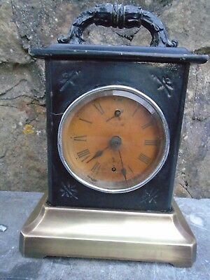 Antique,brass And Steel Musical Alarm,  Mantle Or Carriage Clock