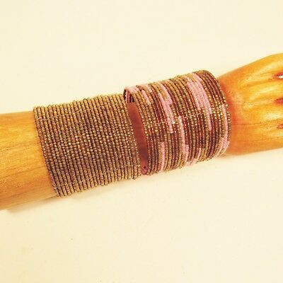 2 Pink Gold Wide Color Block Bohemian Cuff Handmade Bracelet Bali Seed Beads