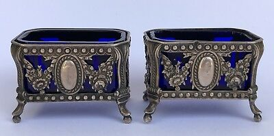 Pair of Antique French Sterling Silver & Blue Crystal Salt Cellars Flowers Set