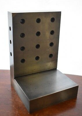 """6 X 4 X 4 X 1"""" STEEL ANGLE PLATE WITH BACK HOLES Precision Ground Finishing"""