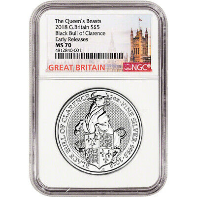 2018 Great Britain Silver Queen's Beasts Black Bull £5 - NGC MS70 Early Releases