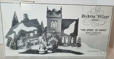 Dept 56 Dickens' Village The Spirit Of Giving Start a Tradition Set of 12 + 3