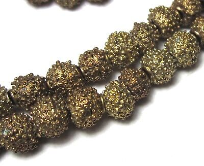 "19"" Strand Of Rare Amazing Old Small Yoruba Goldwashed Brass Antique Beads~"