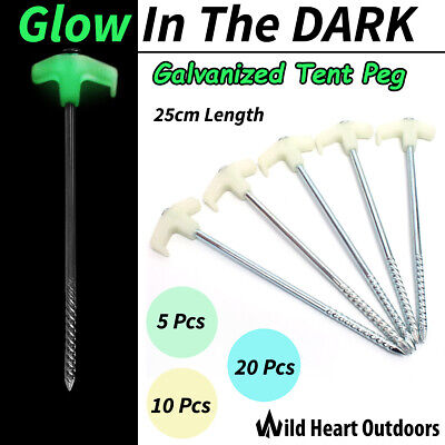 Super Peg 25cm Tent Sand Pegs GLOW IN DARK Heavy Duty Galvanized Screw STAKES
