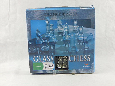 NEW Cardinal Elegant Chess Set Solid Glass Clear & Frosted Smoked Glass Board