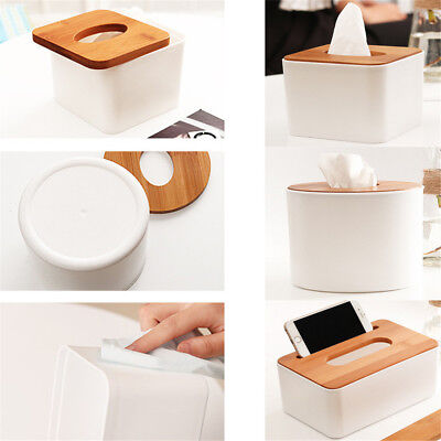 Hot Plastic Home Room Car Hotel Tissue Box Wooden Cover Paper Napkin Holder RN