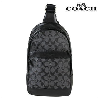 NWT COACH Men s CAMPUS PACK Charles SLING BAG BACKPACK F54787 Charcoal Black 9371475386e24