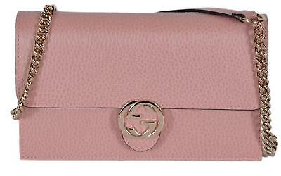 NEW Gucci 510314 Pink Leather Interlocking GG Crossbody Wallet Bag Purse  Clutch d239a98cdf1e6