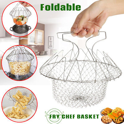 Foldable Kitchen Steam Rinse Strain Strainer Net Fry Chef Basket Cooking Tool