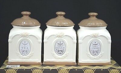 Set Of Three Ceramic Tea/sugar/coffee Canister Set [Brown/cream]