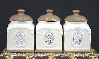 Set Of Three Ceramic Tea/sugar/coffee Canister Set [Brown/white]