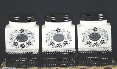 Set Of Three Ceramic Tea/sugar/coffee Canister Set [Black/white]
