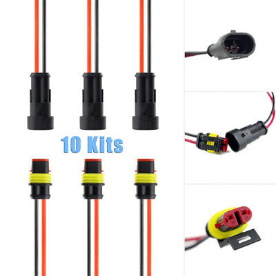 10pcs/ Kit 2-Pin Way Car Waterproof Electrical Connector Plug w/ Wire AWG Marine