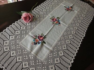 Vintage Ivory Cotton Crocheted Hand-Embroidered White Table Runner with Roses