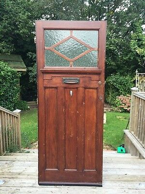 Large Art Deco Front Door Reclaimed Old Antique Period Obscured Glazed Wood