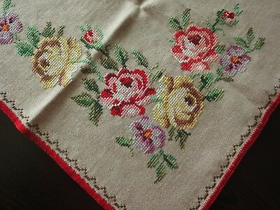 Gorgeous Vintage Multi-Color Hand-Embroidered Linen Natural Color Table Runner